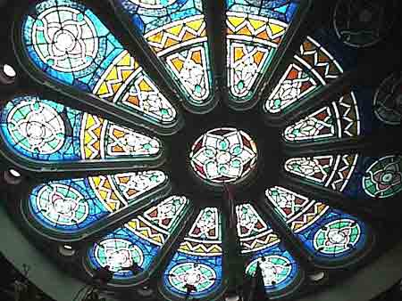 Antique 19th century English stained-glass rose window